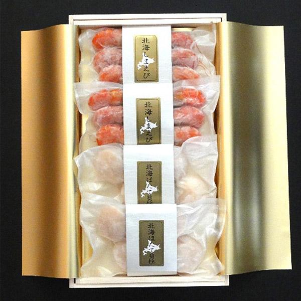 【釧路市:お勧め海産物特集】釧路北匠の『海鮮木箱詰め (北海しまえび・ほたて)』 ★送料込★