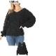 ワッフル編みバルーン袖ニットプルオーバー ドロップショルダー セーター【LA直輸入★インポート】-la-zn-tp035