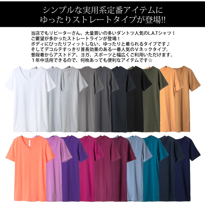 【送料無料!!!】LAインポートVネックスタンダード半袖無地Tシャツ-f-zn-te005