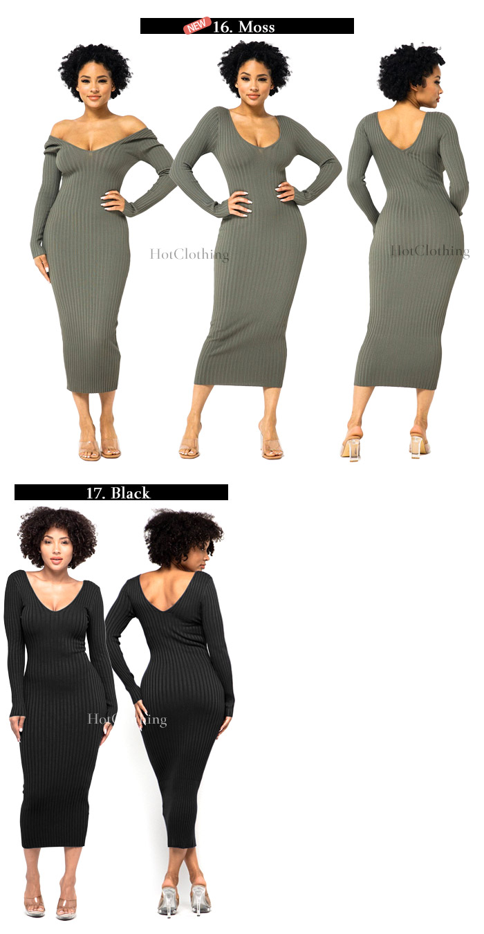 深Vネック長袖リブ オフショルダーワンピースDEEP V-NECK OR OFF SHOULDER LONG SLEEVE RIB MIDI DRESS【HERA COLLECTION】-ls-hc-op311