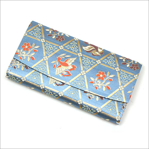 【茶道具 袱紗挟み・懐紙入れ】 三つ折帛紗ばさみ 籠目正倉院花鳥紋 正絹