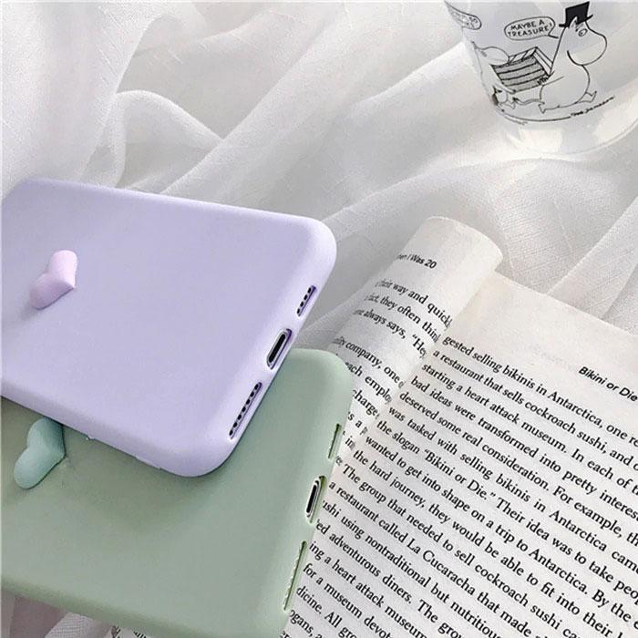 [スマホケース/iPhoneケース]3Dハート ソフトシリコン シンプル 無地 くすみカラー 可愛い iPhone8/SE iPhoneXS iPhoneXR■メール便で送料無料■[M便 1/3][YP2]