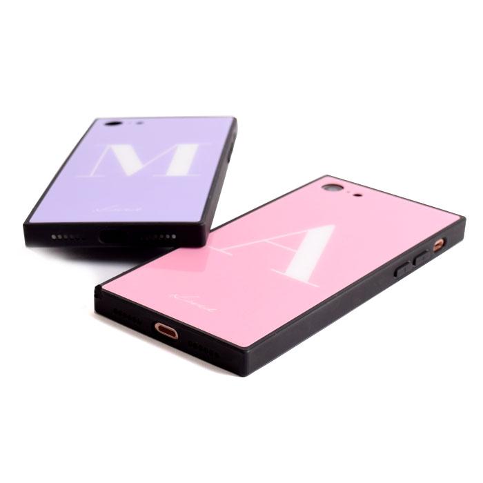 [スマホケース/iPhoneケース]【Loved】【Candy Color INITIAL Glass case】ロゴ・オシャレ文字・イニシャル・アルファベット・スクエア・背面ガラス・iphone7・iPhone8/SE・iphoneX・XS・XSMax・XR 携帯ケース[18A]■メール便で送料無料■[M便 1/3][YP2]