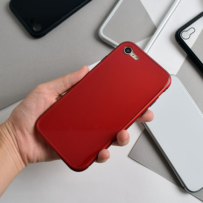 [スマホケース/iPhoneケース]【Tempered Glass Magnet iPhone Case】磁気・マグネット・バンパー・保護・背面ガラス・無地・クリア・シンプル・メタリック・iPhone6s・Plus・iphone7・iPhone8/SE・iphoneX 対応・携帯電話ケース[18A]■メール便で送料無料■[M便 1/3][YP2]