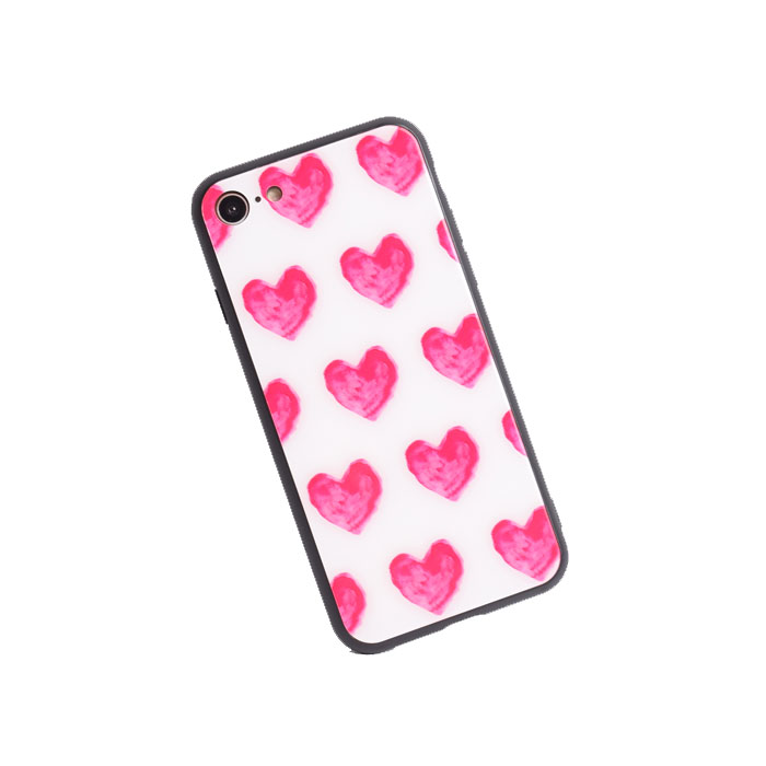 [スマホケース/iPhoneケース]【Tempered glass shell Tiling Red love heart】ハート 手書き風 らくがき ピンク 背面ガラス 強化 love・iphone6・iPhone6s・Plus・iphone7・iPhone8/SE・iphoneX 対応・携帯電話ケース[18S]■メール便で送料無料■[M便 1/3][YP2]