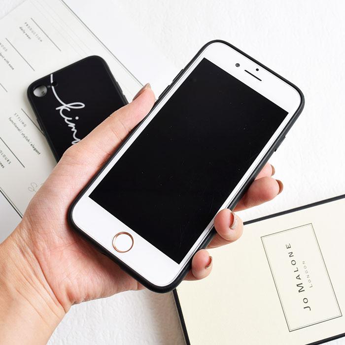 [スマホケース/iPhoneケース]【Graffiti line tempered glass Phone Case】ロゴ・文字・英語・落書き・筆記体・背面ガラス・モノトーン・シンプル・iphone6・iPhone6s・Plus・iphone7・iPhone8/SE・iphoneX 対応・携帯電話ケース[18A]■メール便で送料無料■[M便 1/3][YP2]