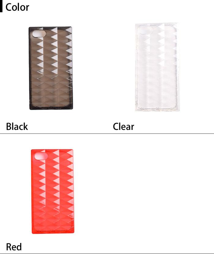 [スマホケース/iPhoneケース]【3D Square Transparent TPU Soft Diamond Case】クリア・ダイヤモンドカット・ジグザグ・キラキラ・クリア・シンプル・iPhone8/SE・8Plus 対応・携帯電話ケース[18A]■メール便で送料無料■[M便 1/3][YP2]