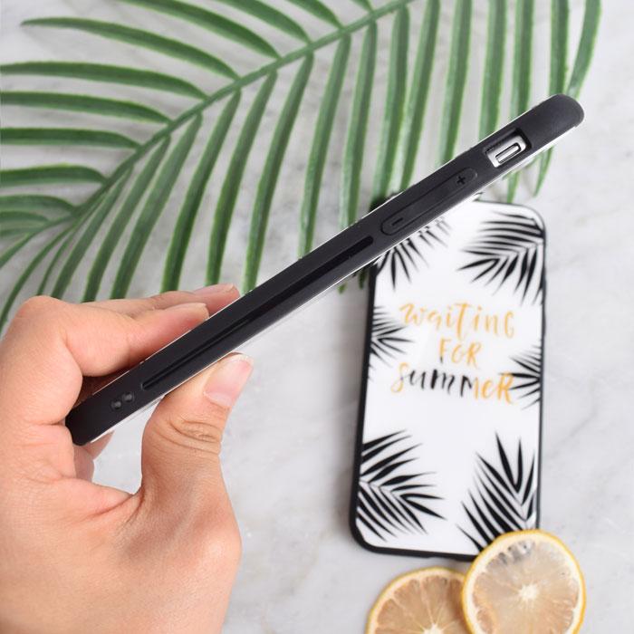[スマホケース/iPhoneケース]【Lovebay Summer Leaf Flora Pattern Glass】リーフ・植物・グリーン・ボーダー・手書き・アート・保護・背面ガラス・iphone7・iPhone8/SE・Plus・iphoneX 対応・携帯電話ケース[18S]■メール便で送料無料■[M便 1/3][YP2]