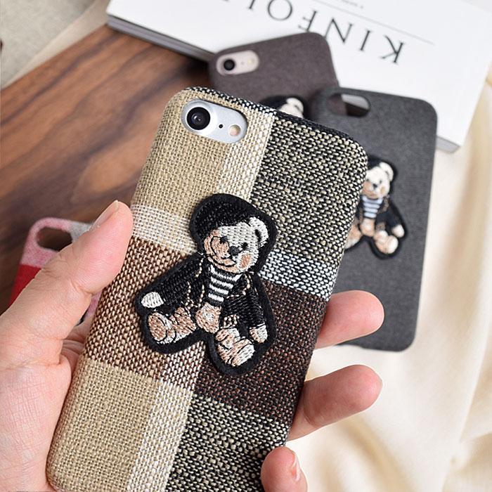 [スマホケース/iPhoneケース]【Bear Glen Check iPhone Case】テディベア・ベアー・クマ・ワッペン・ブリティッシュ・チェック・iphone6・iPhone6s・Plus・iphone7・iPhone8/SE・iphoneX・XS・XSMax・XR対応・携帯電話ケース[17A]■メール便で送料無料■[M便 1/3][YP2]