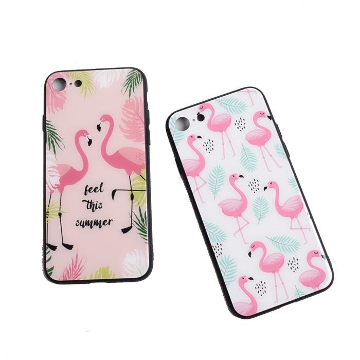 [スマホケース/iPhoneケース]【Cute Cartoon Flamingo Leaf Tempered Glass】フラミンゴ・モンステラ・バナナリーフ・南国・トロピカル・背面ガラス・iphone6・iPhone6s・Plus・iphone7・iPhone8/SE・iphoneX[18S]■メール便で送料無料■[M便 1/3][YP2]