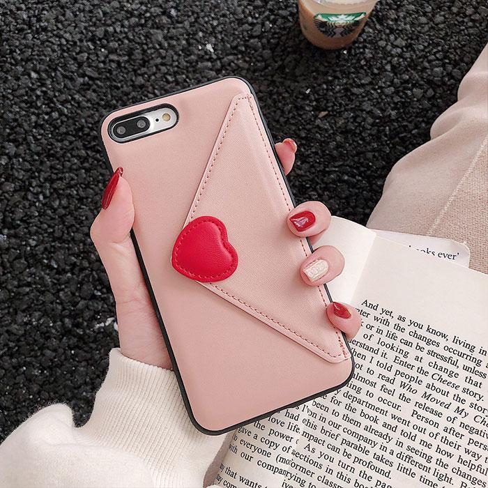 [スマホケース/iPhoneケース]【Love Heart Wallet iPhone Case】ハート カードポケット レザー 合皮 iPhoneXS iPhone11 iPhone11Pro■メール便で送料無料■[M便 1/3][YP2]