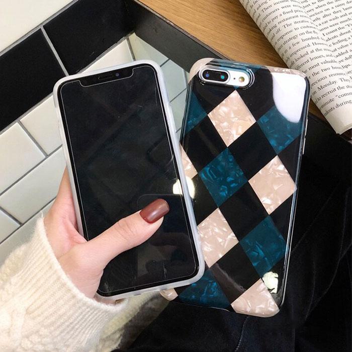 [スマホケース/iPhoneケース]【Fritillaria Diamond Lattice Phone Case】ダイヤモンド柄 格子柄 シェル iPhone8/SE iPhoneXS iPhoneXR 携帯ケース[20S]■メール便で送料無料■[M便 1/3][YP2]