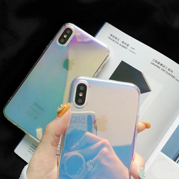 [スマホケース/iPhoneケース]【Rainbow Gradient Color Holographic Case】レインボー グラデーション ホログラフィック ミラー加工 クリア iPhone8/SE iPhoneXS iPhone11 Pro[20S]■メール便で送料無料■[M便 1/3][YP2]