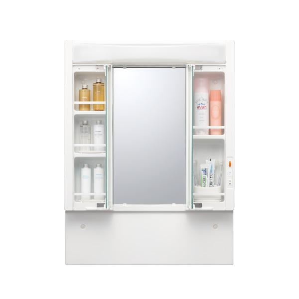 洗面化粧鏡 生産完了品 台数限定アウトレット特別価格 両袖収納付三面鏡 幅750高さ1000