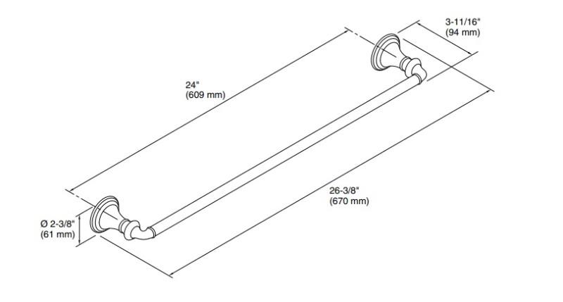 KOHLER タオルバー デボンシャー K-10551-CP ポリッシュドクローム W670xD94xH61mm