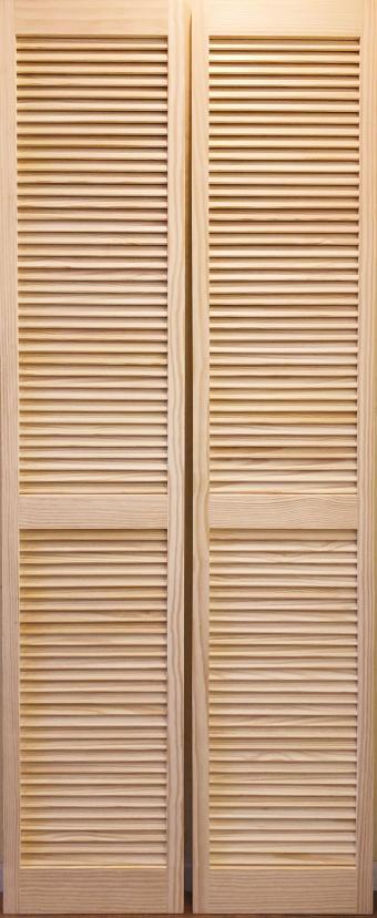 【パインドア】木製折戸 クリアパイン 1423P-2668 レール・金物・木製取手付 W756xH2012mm ※ドア枠込・塗装サービス有り