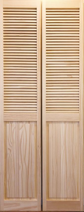 【パインドア】木製折戸 クリアパイン 1424P-2668 レール・金物・木製取手付 W756xH2012mm ※ドア枠込・塗装サービス有り