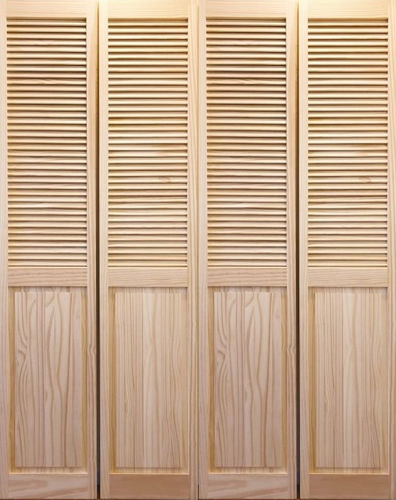 【パインドア】木製折戸 クリアパイン 1424P-4068 レール・金物・木製取手付 W1211xH2012mm ※ドア枠込・塗装サービス有り