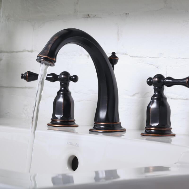 KOHLER 3穴2ハンドル混合水栓 ケルストン K-13491-2BZ オイルラブドブロンズ