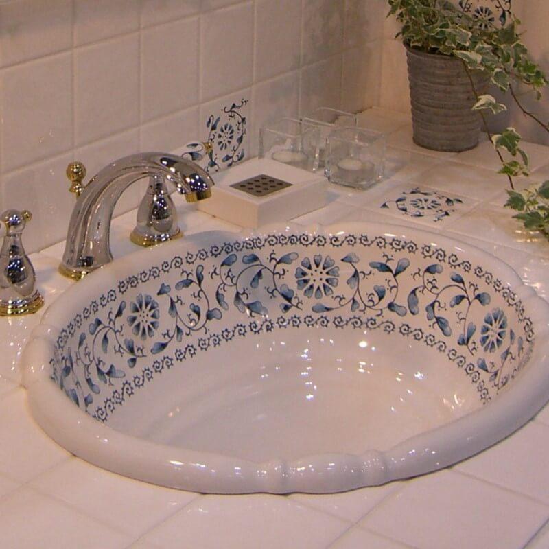 【海外スタイル】洗面ボウル スタンダードシリーズ HPB2403 ブルーカラクサ 503x410mm 約9kg 陶器製