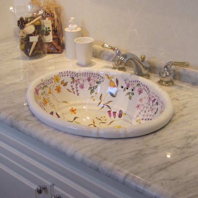 【海外スタイル】洗面ボウル スタンダードシリーズ HPB2402 リアナフラワー 503x410mm 約9kg 陶器製