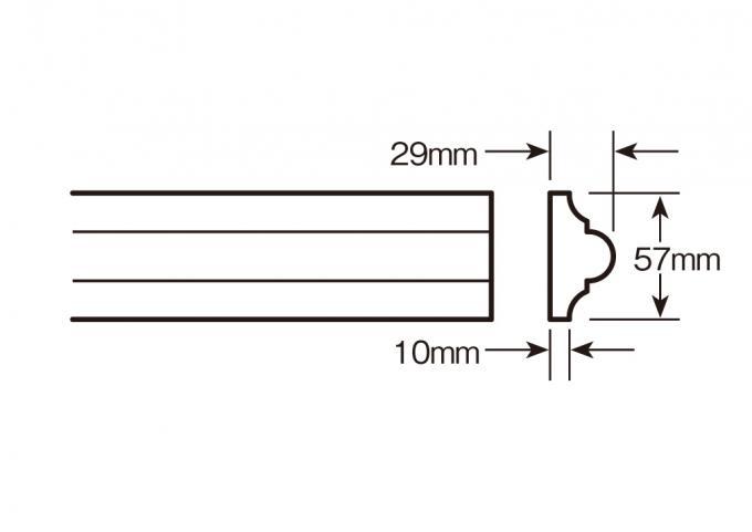 ウレタン製モールディング ファイポン MLD611-12 装飾材 チェアレール 厚み29mm(10mm) x 巾57mm x 長さ3658mm
