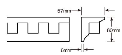 ウレタン製モールディング ファイポン MLD313-8 装飾材 厚み57mm(6mm) x 巾60mm x 長さ2438mm