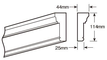 ウレタン製モールディング ファイポン MLD250-8 装飾材 厚み44mm(25mm) x 巾114mm x 長さ2438mm