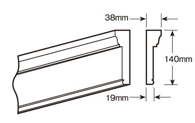 ウレタン製モールディング ファイポン MLD226 装飾材 厚み38mm(19mm) x 巾140mm x 長さ3048/3658mm