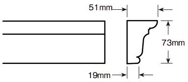 ウレタン製モールディング ファイポン MLD214-12 装飾材 厚み51mm(19mm) x 巾73mm x 長さ3658mm