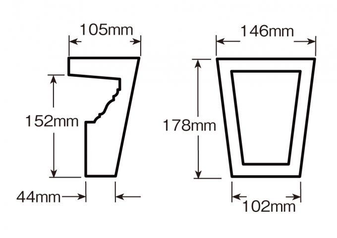 ウレタン製装飾材 ファイポン キーストン KP6M 上部巾146mm(下部巾102mm) x 高さ178mm x 上部厚み105mm(下部厚み44mm)