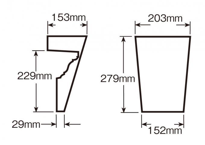 ウレタン製装飾材 ファイポン キーストン K9M 上部巾203mm(下部巾152mm) x 高さ279mm x 上部厚み153mm(下部厚み29mm)