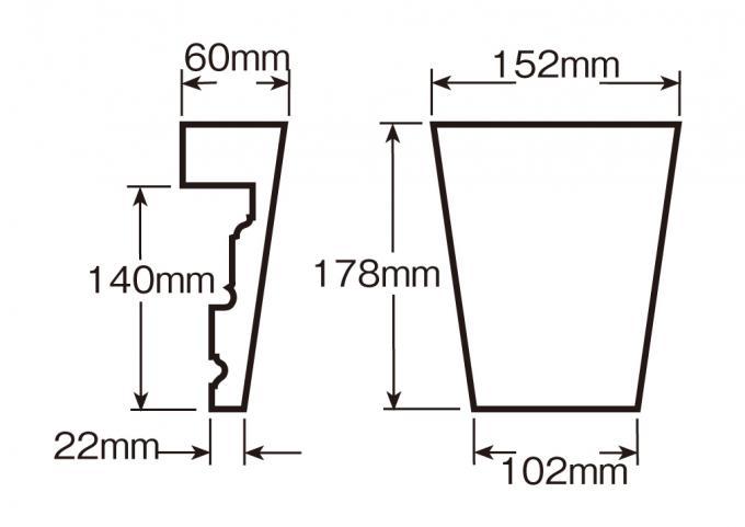 ウレタン製装飾材 ファイポン キーストン K6TM 上部巾152mm(下部巾102mm) x 高さ178mm x 上部厚み60mm(下部厚み22mm)