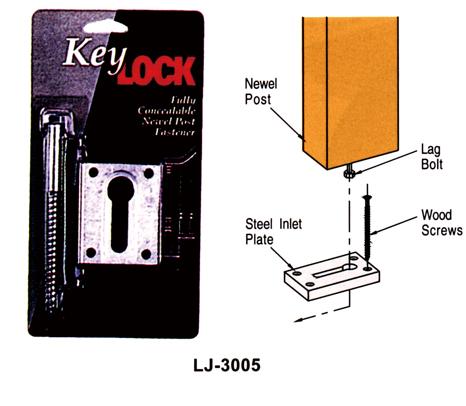 輸入階段材 L.J.スミス キーロック ニューエルポスト・ファスナー LJ-3005 施工用専用ハードウェア