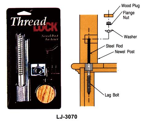 輸入階段材 L.J.スミス スレッドロック ニューエルポスト・ファスナー LJ-3070 レッドオーク用 施工用専用ハードウェア
