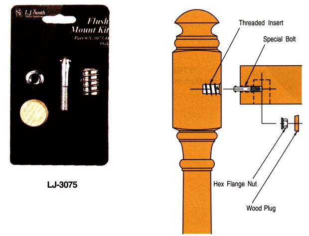 輸入階段材 L.J.スミス フラッシュマウントキット LJ-3075 レッドオーク用 施工用専用ハードウェア