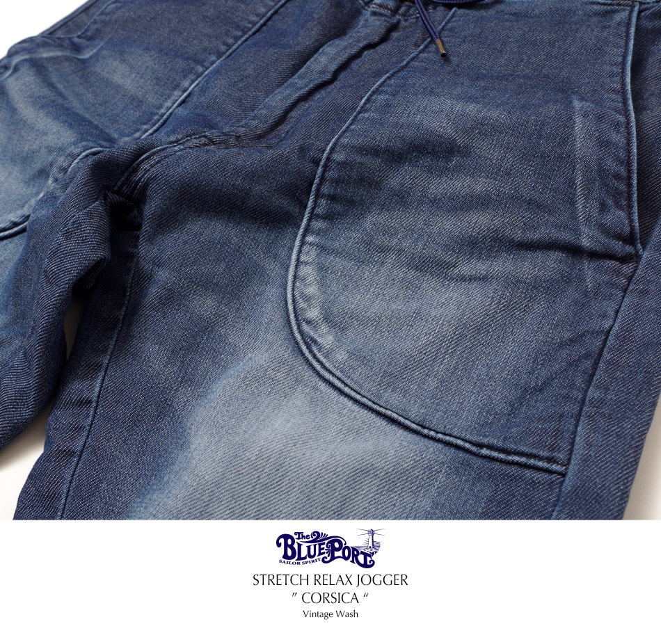 "【4/29 0:00-5/11 23:59 10%OFF!】【BLUEPORT】STRETCH RELAX JOGGER ""CORSICA"" Vintage Wash"