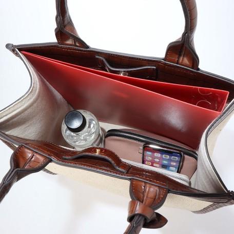 エキゾチックレザーパイピングキャンバス縦型トートバッグ
