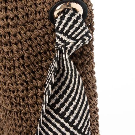 コードテープハンドル手編みショルダーバッグ