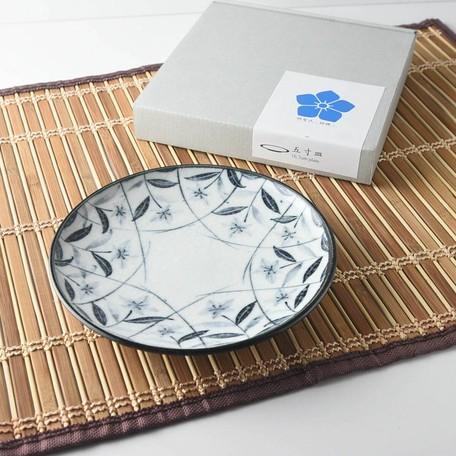【箱入りギフト】桔梗 五寸皿 黒絵[日本製/美濃焼/和食器]