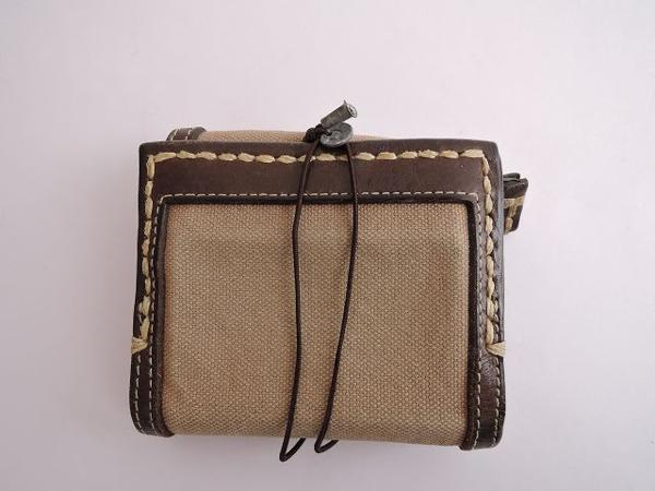 エバゴス ebagos キャンバス×レザー三つ折り財布 (ac85-1603-20)【均一商品】