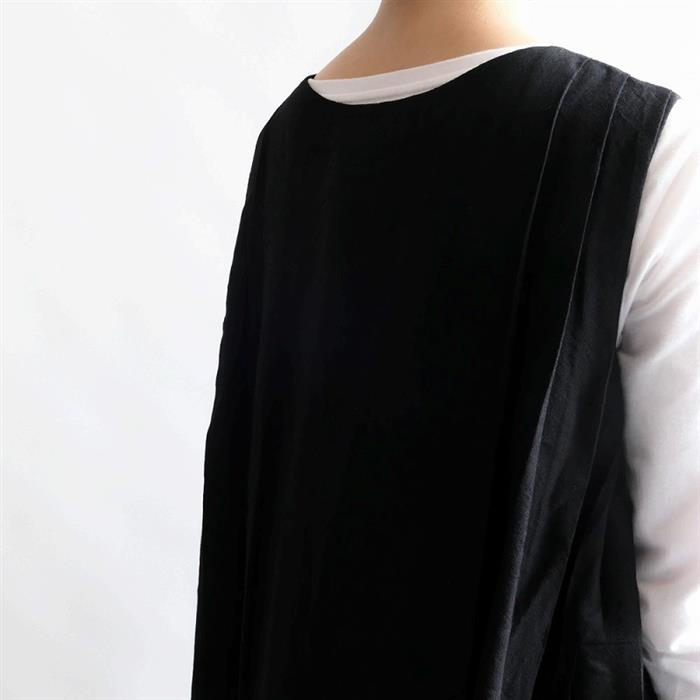 【新品】 クロウ crow side pleated dress サイドプリーツノースリーブワンピース FREE SIZE(91-2010-39)【22G12】