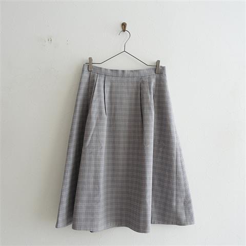 リゼッタ Lisette タック入りチェックフレアスカート 38(sk1-2005-20)【11E02】