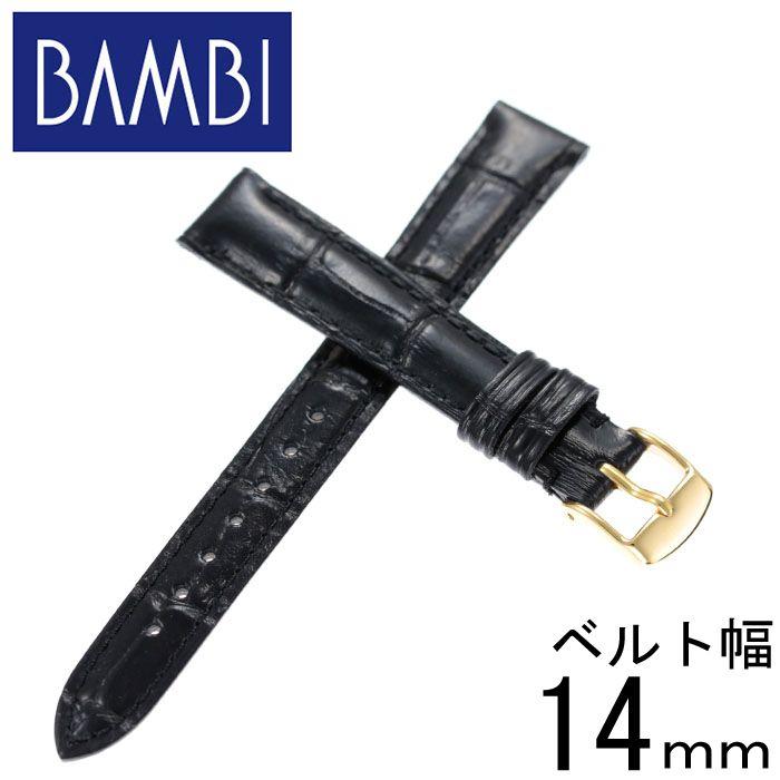 BAMBI バンビ レザーベルト 革ベルト 14mm レザー ブラック ゴールド 49616