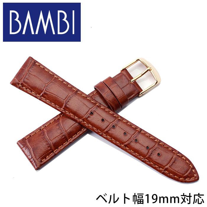 BAMBI バンビ レザーベルト 革ベルト 19mm レザー ブラウン ゴールド 49648