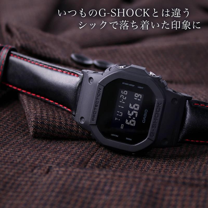 【G-SHOCK対応 アダプターセット】【DW 5600 5600BB 対応】BAMBI バンビ スコッチガード 強力撥水 レザーベルト 22mm レザー ブラックレッド 49581 ジーショック Gショック GSHOCK