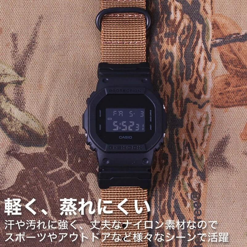 【G-SHOCK対応】MOD ブラック オレンジ ZULU NYLON STRAP 24mm ナイロン ジーショック Gショック GSHOCK