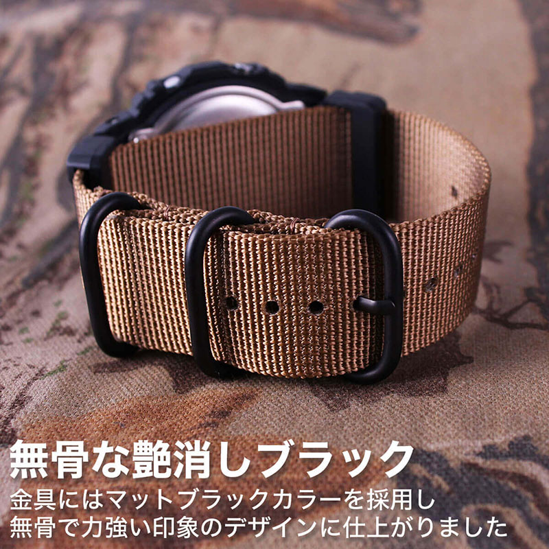【G-SHOCK対応】MOD ブラック レッド ZULU NYLON STRAP 24mm ナイロン ジーショック Gショック GSHOCK