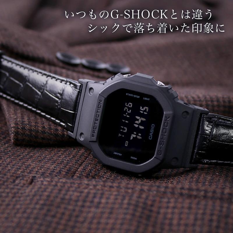 【G-SHOCK対応 アダプターセット】【DW 5600 5600BB 対応】BAMBI バンビ スコッチガード 強力撥水 レザーベルト 22mm レザー ブラック ブラウン 49586 ジーショック Gショック GSHOCK