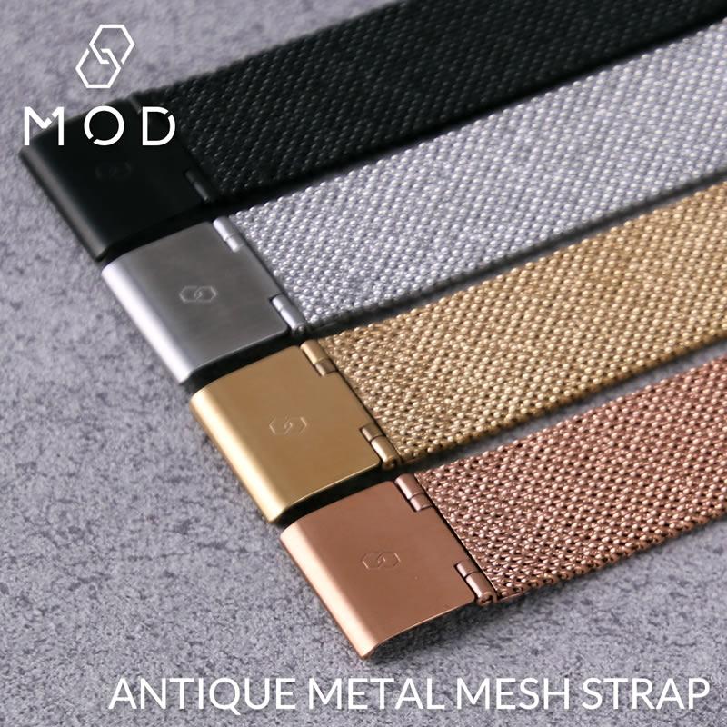 アンティークメタルメッシュストラップ ベルト幅 18mm ミラネーゼ 腕時計ベルト バンド MOD 時計 ワンタッチ ローズゴールド 付け替え 簡単 時計ベルト 交換